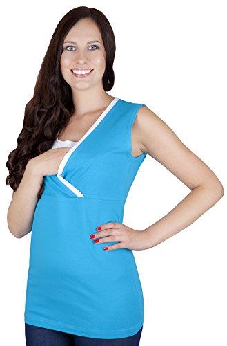 Mija - 2 en 1 Chemise maternité et de soins tricot de corps 95% coton 9057 Turquoise