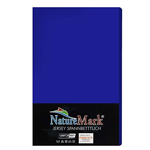 Jersey Spannbettlaken Spannbetttuch Bettlaken Betttuch Bett Laken 100% Baumwolle, Farben:Royalblau, Größen:140x200 - 160x200 cm