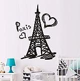 Dalxsh Paris Eiffelturm Wandtattoo Vinyl Aufkleber Paris Symbol Home Frankreich Design Kunst Wandbilder SchlafzimmerWanddekorZubehör40X60 Cm