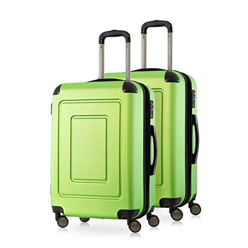 Happy Trolley - 2er Koffer-Set Trolley-Set Rollkoffer Hartschalen-Koffer Reisekoffer Lugano sehr leicht, TSA, 66 cm, 78L, (2xM), Apfelgrün