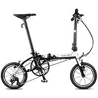 Monociclos Bicicleta Plegable Bicicleta Unisex 14 Pulgadas Bicicleta pequeña Rueda portátil 3 velocidades Bicicleta (Color : Blanco, Size : 120 * 34 * 91cm)