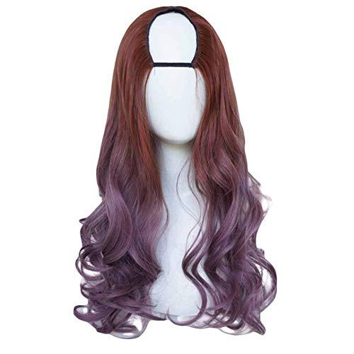 Brun clair/frêne violet 65 cm U Forme 2 Tone longs cheveux bouclés perruque Cosplay perruque