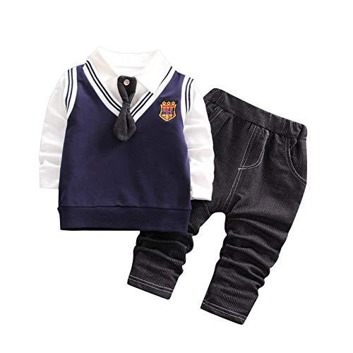 ESHOO Baby Kleidung Set, Kleinkind Mädchen Jungen Baumwolle Pullover Tops + Streifen Weste + Elastische Hosen Gentleman Formale Outfit - Kleinkind Jungen Formelle Kleidung