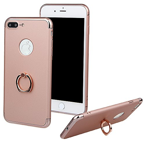 """xhorizon TM FM8 3 in 1 Ultra Thin Hard Protective Stylish Case Case for iPhone 7 Plus [5.5""""] with 360 Degree Rotating Ring Kickstand with a 9H Tempered Glass Film Rose Gold"""