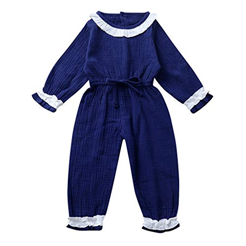 squarex ® Girls Plaid Lace Rüschen Strampler Langärmeliger Babyoverall Bequemer Babyoverall Legere Overall-Outfits