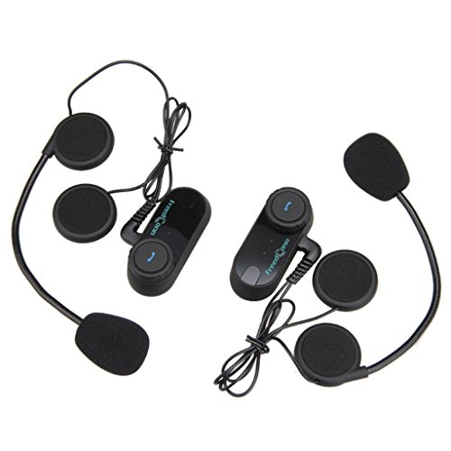 Paquete 2 Intercomunicador Inalambrico 800m Intercom Interfono (Entre 2 Pilotos, Bluetooth, A2DP, Manos Libres, FM Radio) Auricular Casco para Moto Motociclista