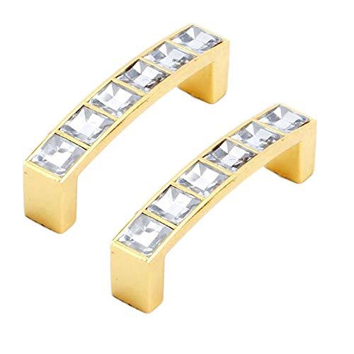 FBSHOP(TM) 64mm Möbel Griff Glas Kristall Kabinett Knöpfe und Griffe Schrank Schublade Küche Türknauf Möbel Hardware-Set von 2, Golden -