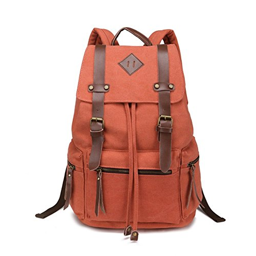Leefrei vintage Canvas Rucksack Damen Herren Rucksäcke Retro Schulrucksack Backpack Daypack für Uni, Wandern, Outdoor Sport, freizeit, Einkaufen mit der großen Kapazität (kakifarbe2) Orange