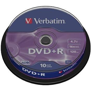 Verbatim 43498 DVD+R 16x Non-Print 10pk