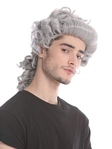 Wig me up ® - 91019-za68e parrucca uomo donna carnevale halloween barocco rinascimento grigio code nobiluomo nobiltà lord