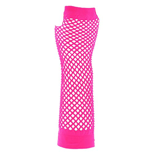 Hot Rosa Lange Fischnetz Handschuhe Erwachsene - Pop-Diva der 1980er Jahre lange Netz-Handschuhe in rosa