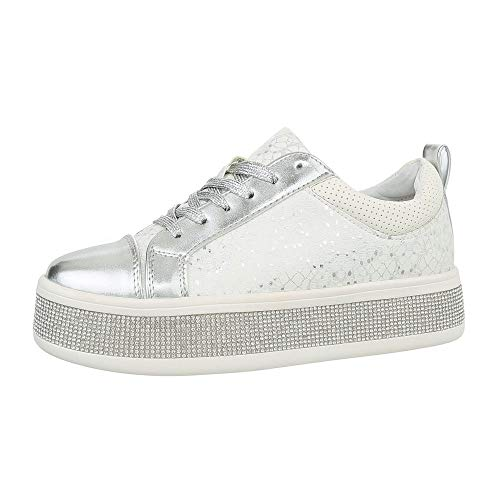 Ital-Design Damenschuhe Freizeitschuhe Sneakers Low Synthetik Weiß Silber Gr. 37