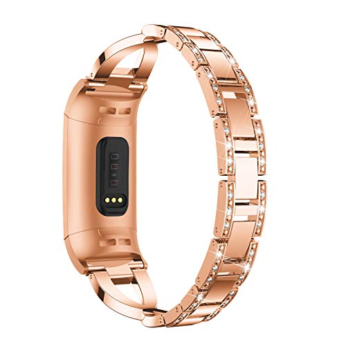 HEYSTOP Bling Bands Compatible Fitbit Charge 3,Replacement Stainless Steel Metal Bands with Rhinestone Bracelet for Fitbit Charge 3 Smart Watch(Rose Gold)