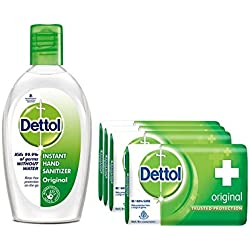 Dettol Hand Sanitizer - 50 ml (Original) with Soap - 125 g (Original, Buy 3 Get 1 Free)