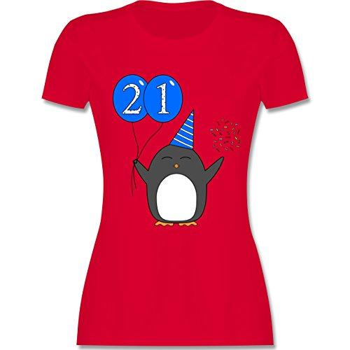 Geburtstag Geschenk für Frauen - 21.Geburtstag - Blau - Pinguin - Ballon - Konfetti - M - Rot - L191 - - Tailliertes Premium Frauen Damen T-Shirt mit Rundhalsausschnitt (Pinguin-winter T-shirt)