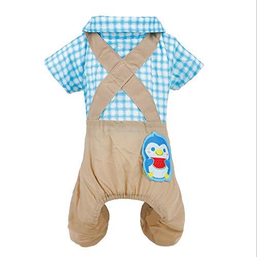 nd Mittlere Teddybär Xiong Bobo Eine Vielzahl von Größen Schöne Hundebekleidung liefert ordentlich Frühjahr und Sommer Plaid Pullover Hundebekleidung (Color : Blue, Größe : XL) ()