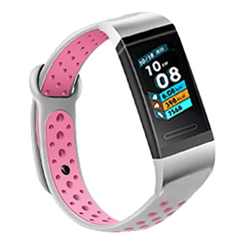 Waotier für Huawei Band 3 Band 3 Pro Armband Silikon Armband mit Silber Schnellverschluss Ersatzarmband Kompatibel für Huawei Band 3/3 Pro Wechselarmband für Männer Frauen (Rosa) -
