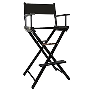 Black Premium Tall Makeup Chair with FREE Personalisation & Spare Black Canvas Set