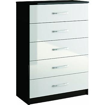 birlea lynx 5 drawer chest high gloss black and white amazon co