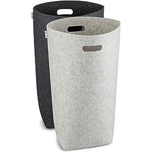 Elwin Neiles® - 80L/2St. - Designer Wäschekorb aus stilvollem Filz - Faltbarer Wäschesammler mit ergonomischen Griffen & Sichtschutz - Wäschetonne