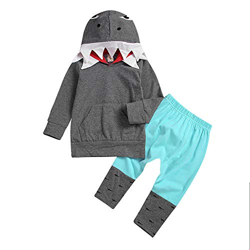 Kobay Kleinkind Kid Baby Girl Boy 3D Cartoon Hoodie Shark T Shirt Tops + Hosen Kleidung Set(2-3T,Grau) (Shark Boy Kostüm Halloween)