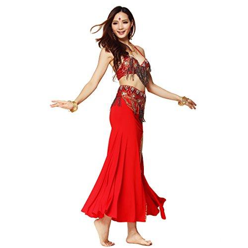 Best Dance Damen-Bauchtanz-Kostüm, professionelles 3-teiliges Set, Oberteil, Gürtel -