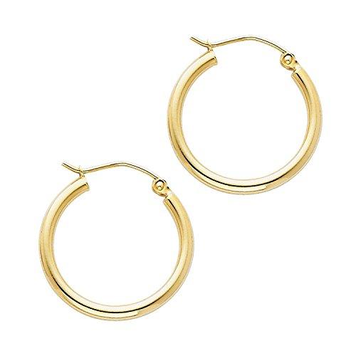 14 Karat 585 Gold Hochglanz Creolen Ohrringe Gelbgold - Breite 2 mm - Große Wählbar (20 Millimeter)