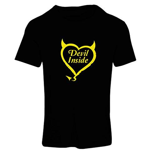 Frauen T-Shirt Devil Inside Devil Kostüme lustige Kleidung, Geschenke für Gamer, Cooler Slogan (X-Large Schwarz Gelb)