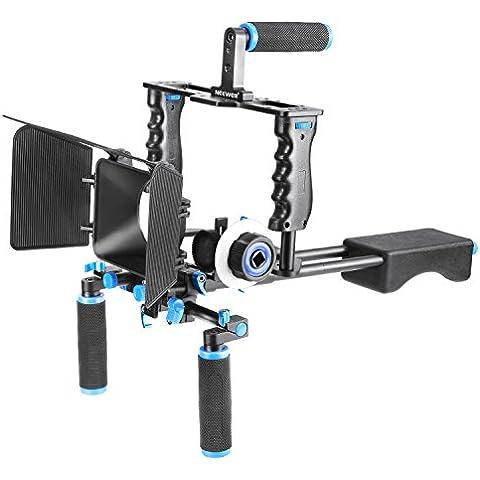 Neewer® Aluminio película película Kit Sistema Rig para Canon/Nikon/Pentax/Sony y otros cámaras réflex digitales, incluye: (1) jaula de vídeo + (1) Top Handle Grip + (2) 15mm Rod + (1) caja mate + (1) Follow Focus + (1) soporte de
