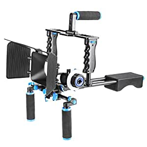 Neewer® Aluminum Film Movie Kit System Rig for Canon/Nikon/Pentax/Sony and other DSLR Cameras,includes:(1) Video Cage+(1) Top Handle Grip+(2) 15mm Rod+(1) Matte Box+(1) Follow Focus+(1) Shoulder Rig
