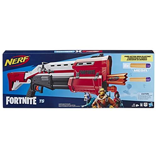 Hasbro Nerf E7065EU4 TS Pump-Action Blaster, 8 Nerf Mega Fortnite Darts, Dartaufbewahrungsfach - Für Jugendliche und Erwachsene, Multicolor (Mega Blaster Dart)