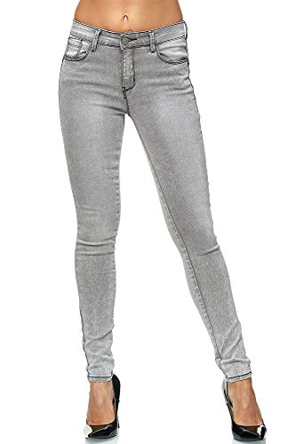 Elara Damen Stretch Hose | Butt Lift Effekt | Skinny Push Up Jeans | Elastischer Bund | Slim Fit | Chunkyrayan MA7501 Grey 36 -
