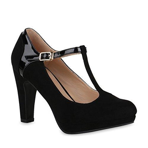 Schwarz Damen High Schwarz T Spitze Strap Schuhe Nieten Pumps Heels Blockabsatz Metallic Zierperlen Stilettos Riemchenpumps Velours Flandell qIrZgqw