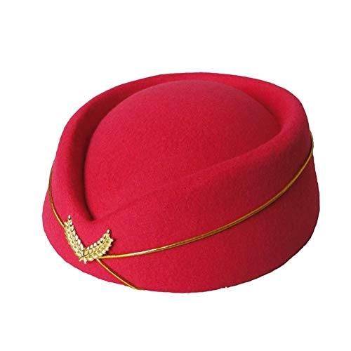 Hut fühlte Flugbegleiterin Stewardess Cap für Kostüm Cosplay Band Musical Bühne Leistung Größe M (Rosy) ()