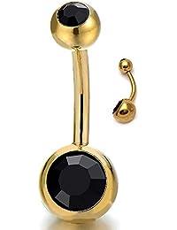Oro Acero Quirúrgico Joyas para el Cuerpo Piercing Ombligo Vientre Botón Anillo Barbells con Negro Circonio Cúbico