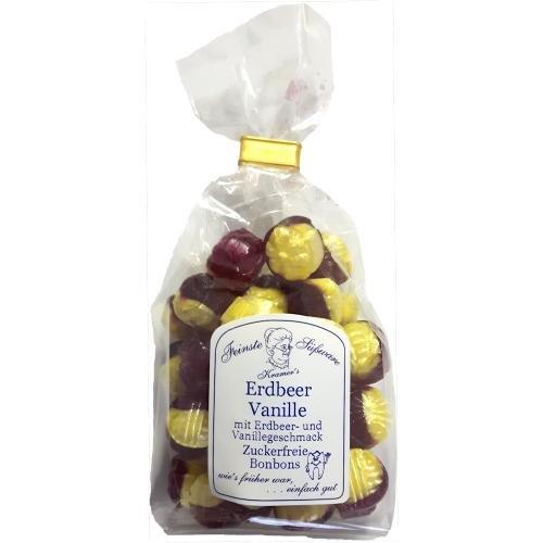 Zuckerfreie Erdbeer-Vanille Bonbons, 120g (Erdbeer-bonbons)