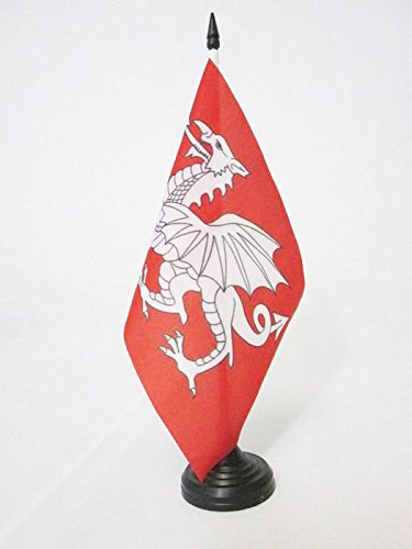 BANDERA de MESA del DRAGON BLANCO DE INGLATERRA 21x14cm - BANDERINA de DESPACHO INGLESA - SAN JORGE 14 x 21 cm - AZ FLAG
