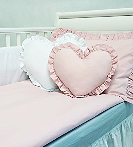 **NEW EXCLUSIVE & LUXURY BABY GIRL 7pcs BEDDING SET - POWDER PINK and WHITE - LOVE HEART - fit COT BED or COT (please see dimensions in the