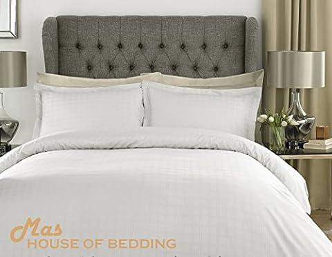 Luxury Premium Hotel Collection 400 Thread Count 100% Cotton Satin Stripe Check White Bedding Set with Oxford Pillowcases (Double)