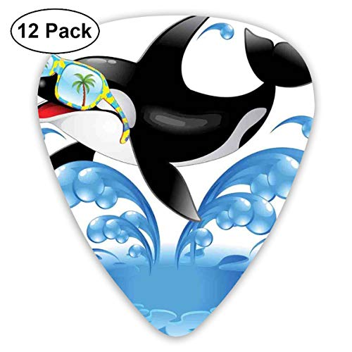 Celluloid Guitar Picks - 12 Pack,Abstract Art Colorful Designs,Summer Holiday Ocean Cute Jumping Killer Whale With Sunglasses Cartoon Animal Love,For Bass Electric & Acoustic Guitars.