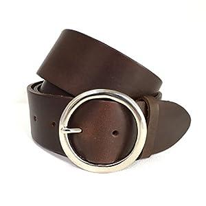 50mm Brauner Breiter Ledergürtel - Silberne Runde Schnalle - Braunes Leder - für Herren - Breiter Gürtel für Damen - Handgefertigt in England - 2 Zoll -2 Inch - Silberfarbene Kreisschnalle - Runde Schnalle - Leder ist auch in Schwarz, Hellbraun, Weiß oder Blau erhältlich