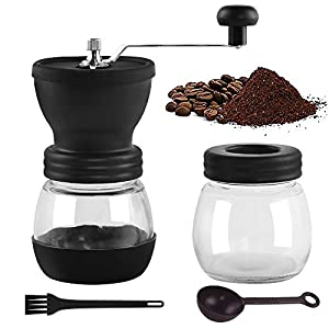Premium Manual Coffee Grinder,Portable Coffee Mill with Adjustable Ceramic Burrs,Cleaning Brush,Glass Storage Jars,Silicone Non-Slip Mat,Silicone Dust-Proof Cover for Beans,Easy to Clean (Black)