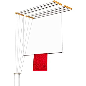 Wudore Luxury Ceiling Cloth Drying Hanger with One by One Drop Down Rods (6 Lines) (4 Feet)