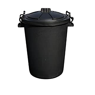 80/85 Litre Black Bin COMES WITH HEAVY DUTY PLASTIC LOCKABLE HANDLES (made in the uk)®