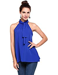 20b8fcada58b Meaneor Women Halter Neck Sexy Sleeveless Chiffon Tank Shirt Blouse