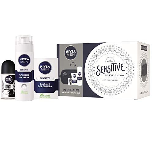 Nivea Men Sensitive Shave & Care Kit, Set Regalo Uomo con Balsamo Dopobarba Sensitive 100 ml, Schiuma da Barba Sensitive 200 ml, Invisible Black & White Deodorante Roll-on e Trousse da Viaggio