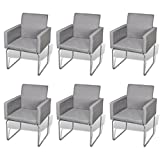 vidaXL 6x Esszimmerstuhl Stuhl Stühle Polsterstuhl Küchenstuhl Stuhlgruppe Armlehnen