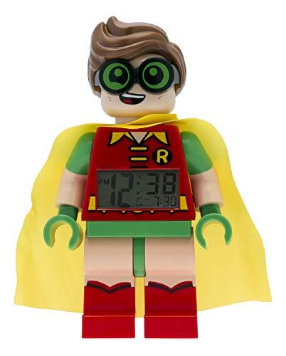 LEGO Batman Movie 9009358 Robin Kinder-Wecker mit Minifigur | rot/grün | Kunststoff | 24 cm hoch | LCD-Display | Junge/ Mädchen | offiziell (Watch Movie Lego)