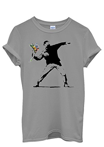 Banksy Flower Thrower Cool Funny Men Women Damen Herren Unisex Top T Shirt Grau