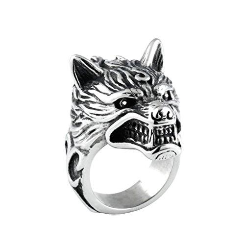 HIJONES Herren Edelstahl 316l Wolf Kopf Ritter Ring Gothic Biker Größe 65